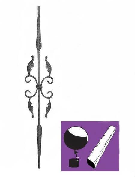 Element od firkanta za glenedere i stepeniste, grifovan i raskovan na krajevima u riblju kost sa pereceama i listovima na sredini